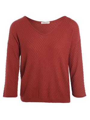 Pull manches 34 roulottees terracotta femme