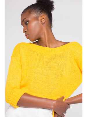 Pull manches 34 jaune or femme