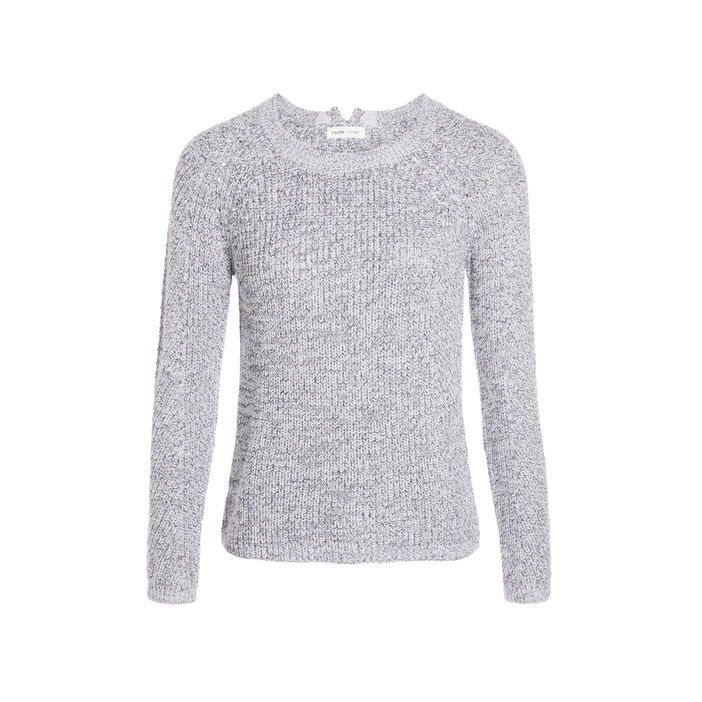 Pull maille fantaisie col rond bleu femme