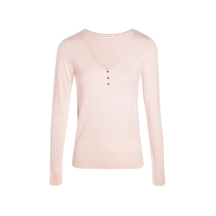 Pull maille fantaisie col V rose clair femme