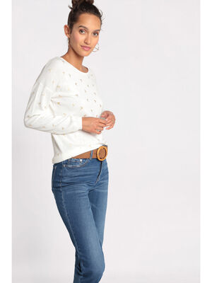 Pull manches longues a boutons ecru femme