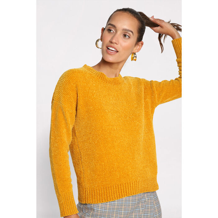 Pull manches longues col rond jaune moutarde femme