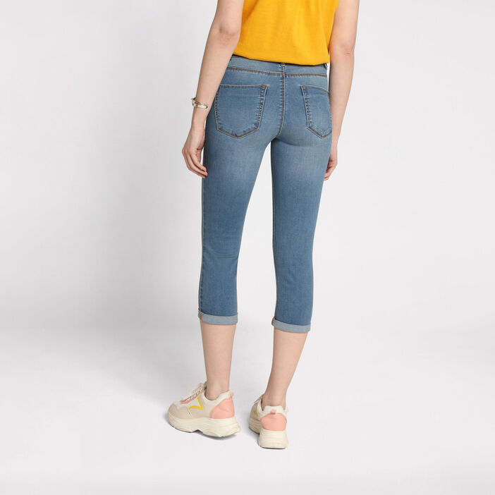 Pantacourt jean slim denim double stone femme