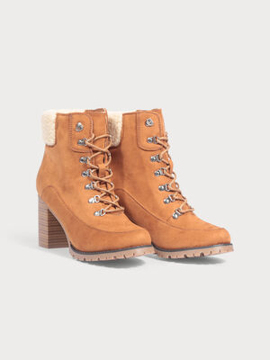 Bottines a talons fourrees camel femme
