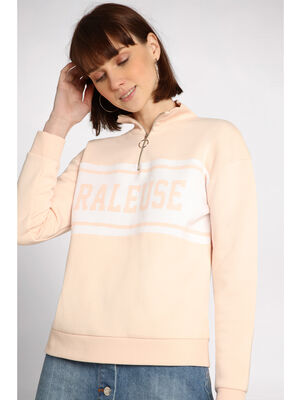 Sweat manches longues zippe rose clair femme