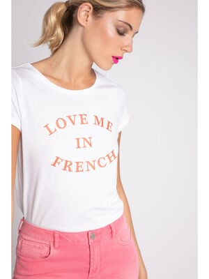 T shirt manches courtes message brode blanc femme