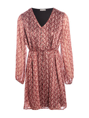Robe evasee manches longues rouge femme