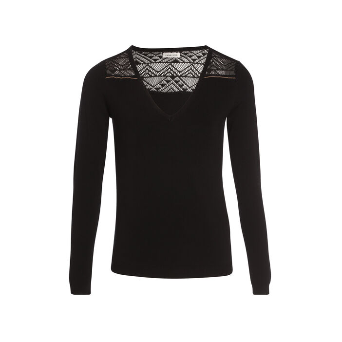 Pull manches longues col V noir femme