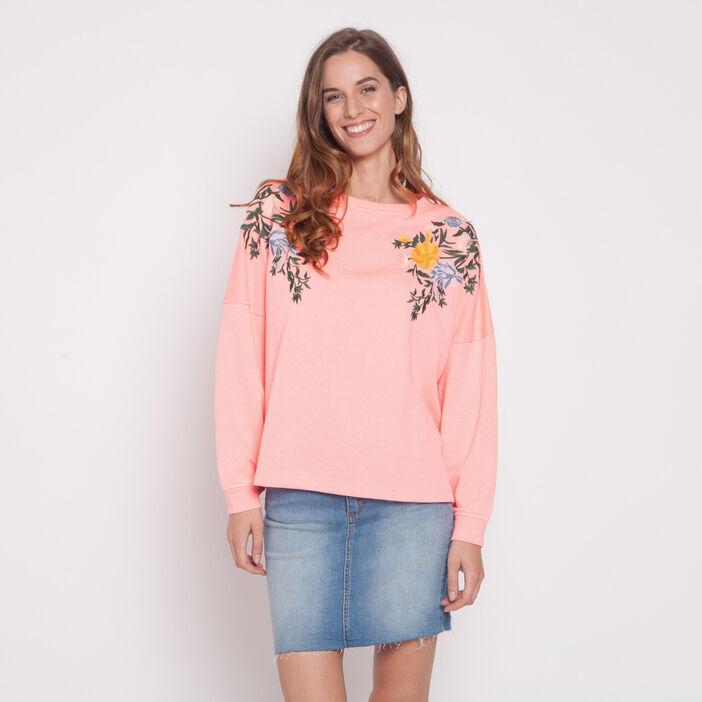 Sweat broderies florales rose fluo femme