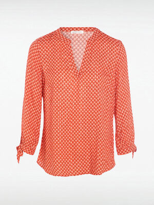 Blouse manches 34 nouees imprimee rouge femme