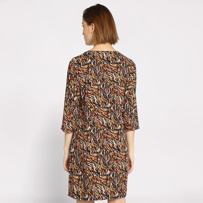 Robe col en V manches 3/4 multicolore femme