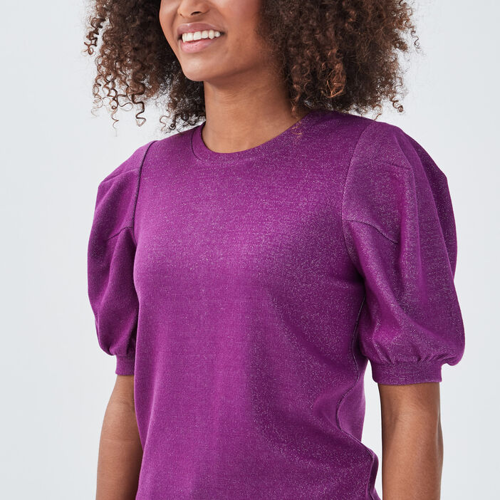 Pull manches ballons violet femme