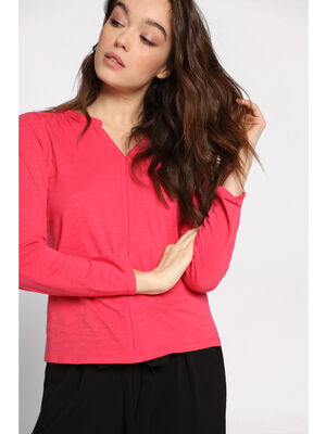 T shirt manches longues rose framboise femme