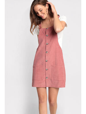 Robe chasuble en velours rose femme