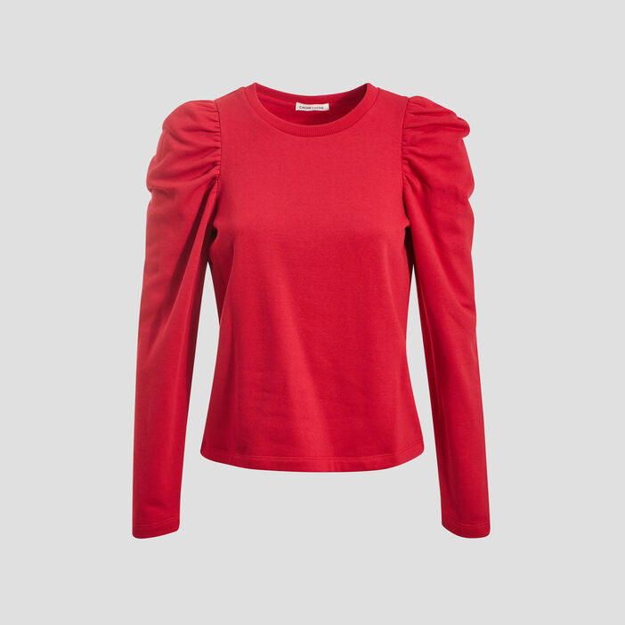 Sweat manches gigots rouge femme