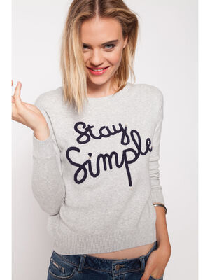 Pull maille chinee message gris clair femme