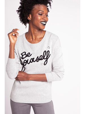 Pull manches longues a message gris clair femme