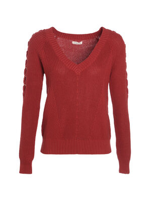 Pull manches longues a lacage orange fonce femme