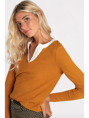Pull jaune moutarde femme