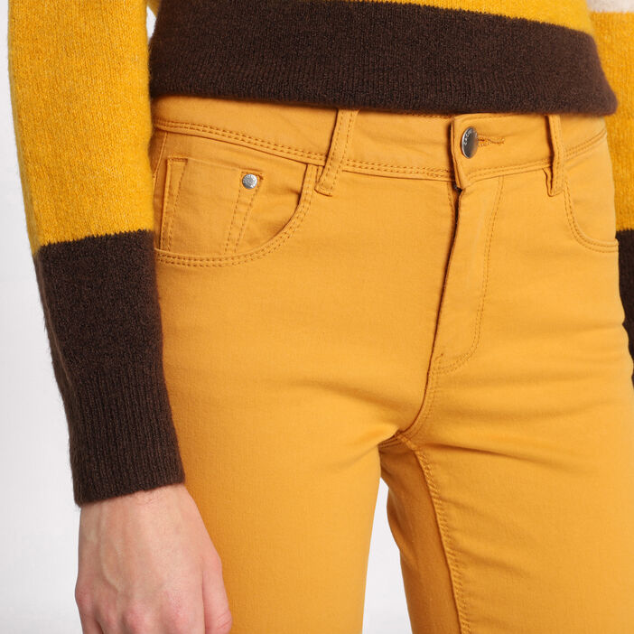Jeans slim 5 poches jaune moutarde femme