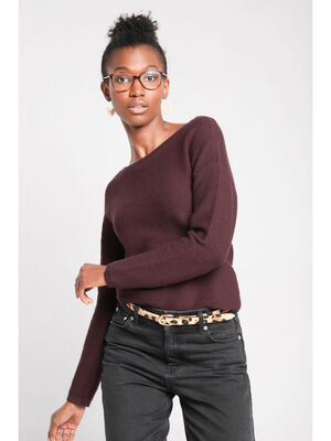 Pull manches longues dos zippe marron fonce femme
