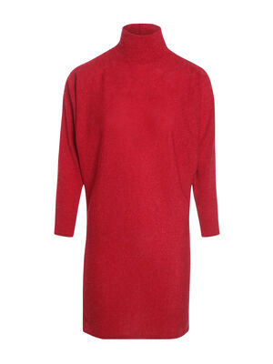 Robe courte droite maille rouge fonce femme