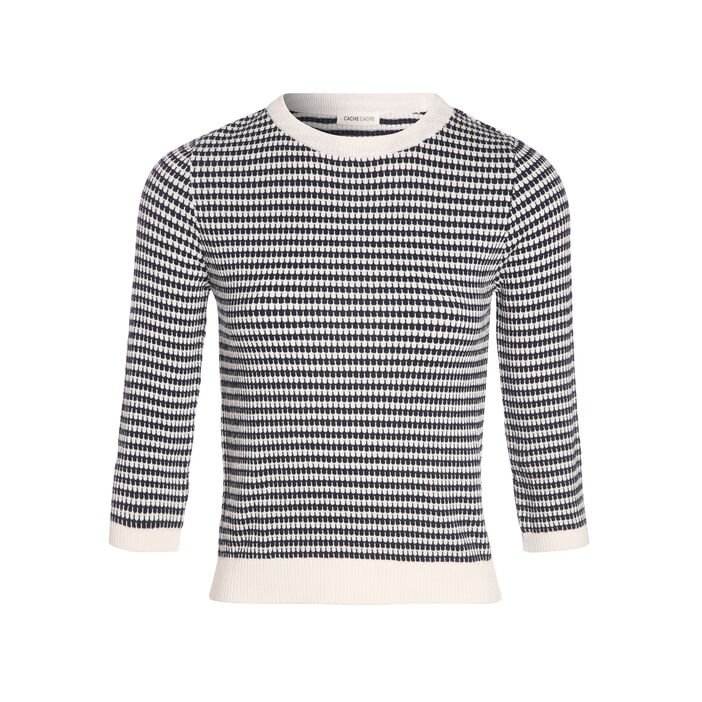 Pull manches 3/4 col rond bleu marine femme