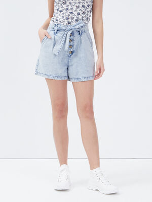 Short paperbag en jean denim bleach femme
