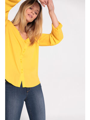 Chemise manches longues col V jaune femme