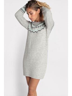 Robe pull droite col rond gris clair femme