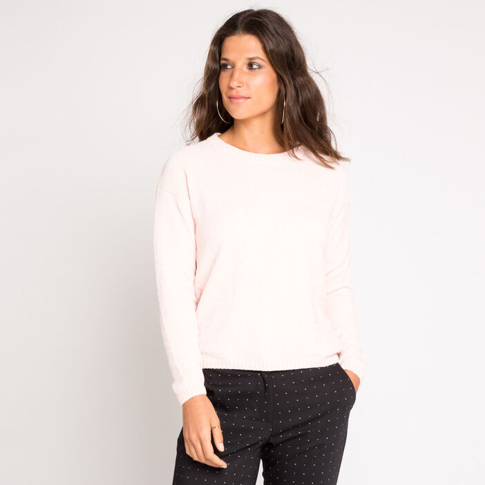 Pull manches longues en maille chenille rose clair femme