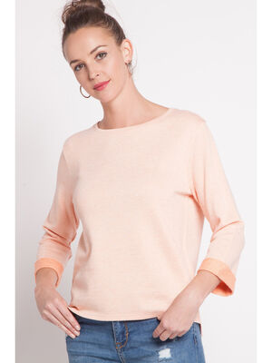 Sweat maille fine detail bicolore orange corail femme