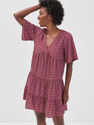 Robe evasee a volants rose framboise femme