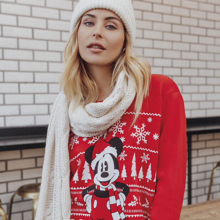 Sweat col rond Mickey rouge femme