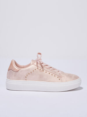 Baskets sneakers plates rose poudree femme