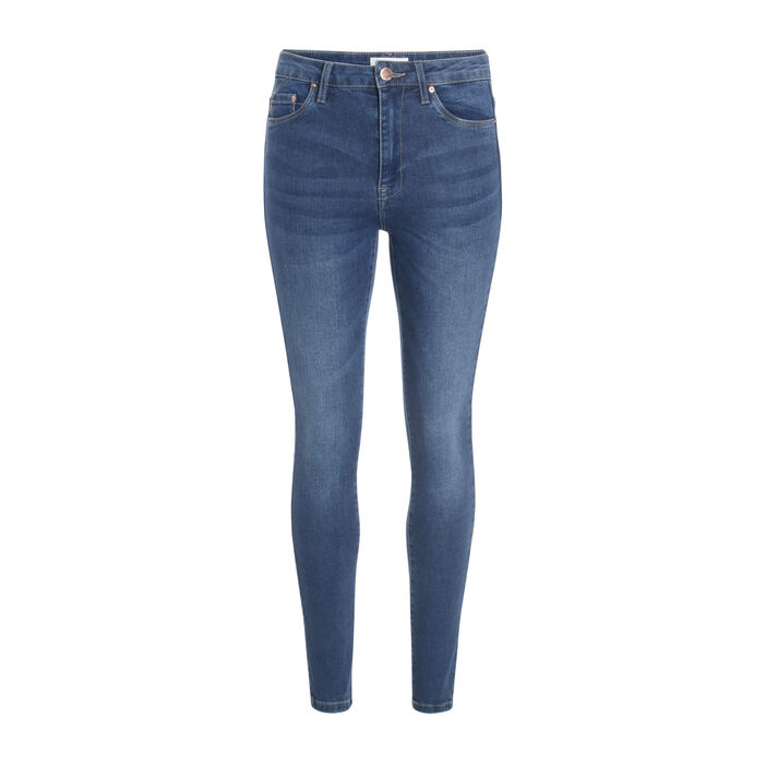 Jeans skinny taille haute used denim stone femme