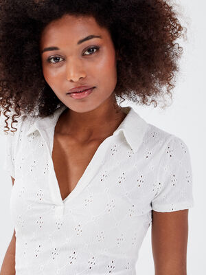 Polo manches courtes blanc femme