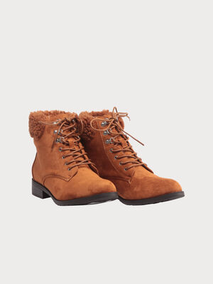 Bottines plates fourrees camel femme