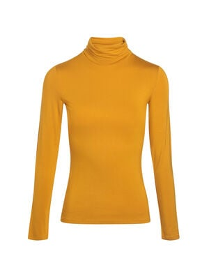 Pull col montant inspiration annees 70 jaune or femme