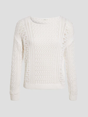 Pull manches longues ajoure ecru femme
