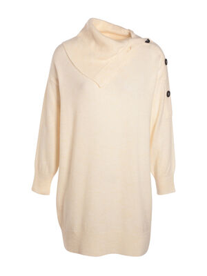 Robe ample tricot a boutons ecru femme