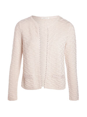 Gilet col rond maille fantaisie rose femme