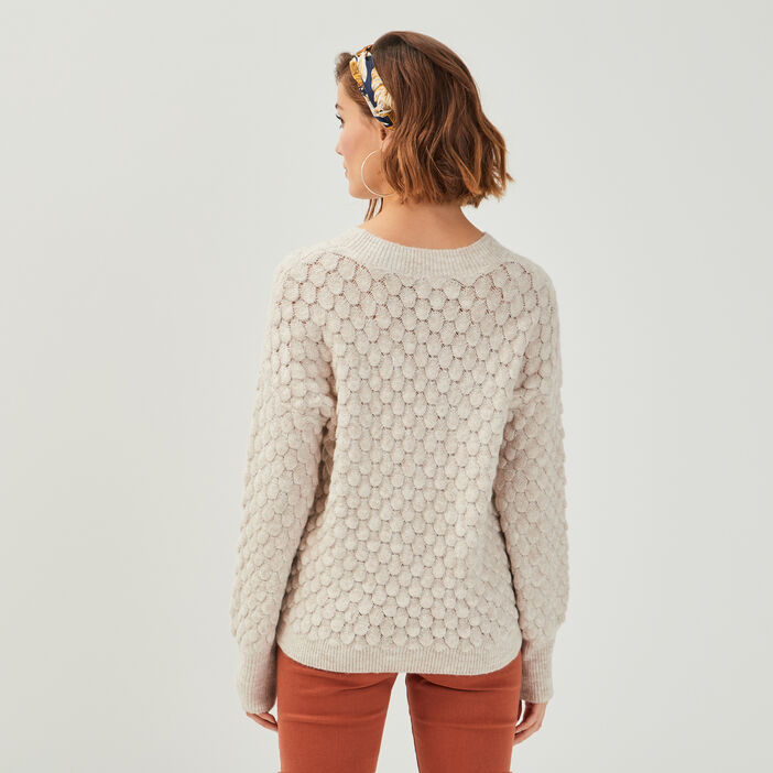 Pull manches longues ballons sable femme