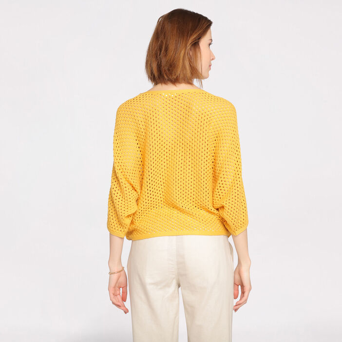 Pull manches 3/4 maille ajourée jaune femme