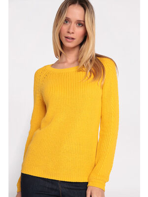 b532a947741e Pull maille fantaisie col rond jaune femme