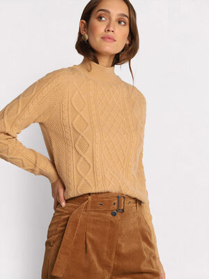 Pull manches longues torsade marron clair femme