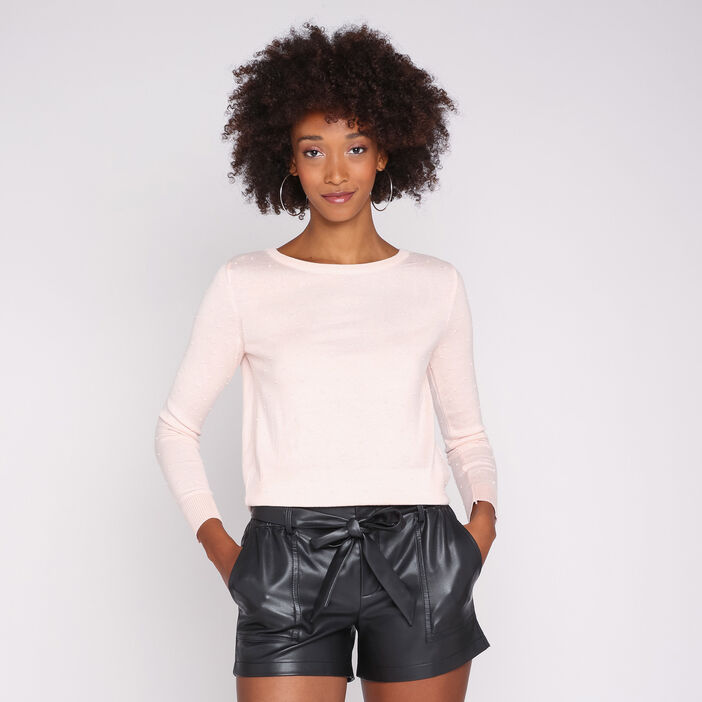 Pull manches longues col rond uni rose clair femme