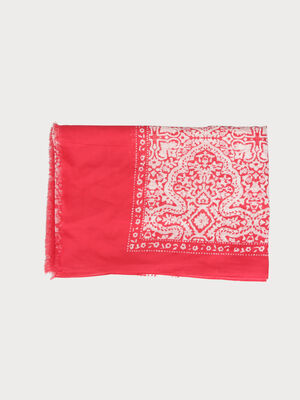 Foulard leger a bords francs rose framboise femme