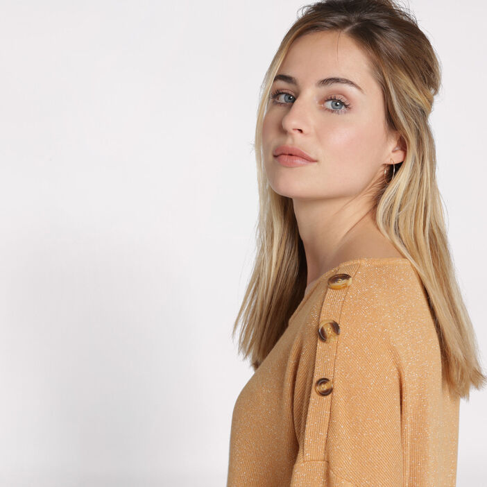Pull manches 3/4 avec boutons jaune femme