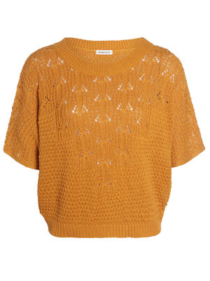 Pull manches courtes col rond jaune or femme
